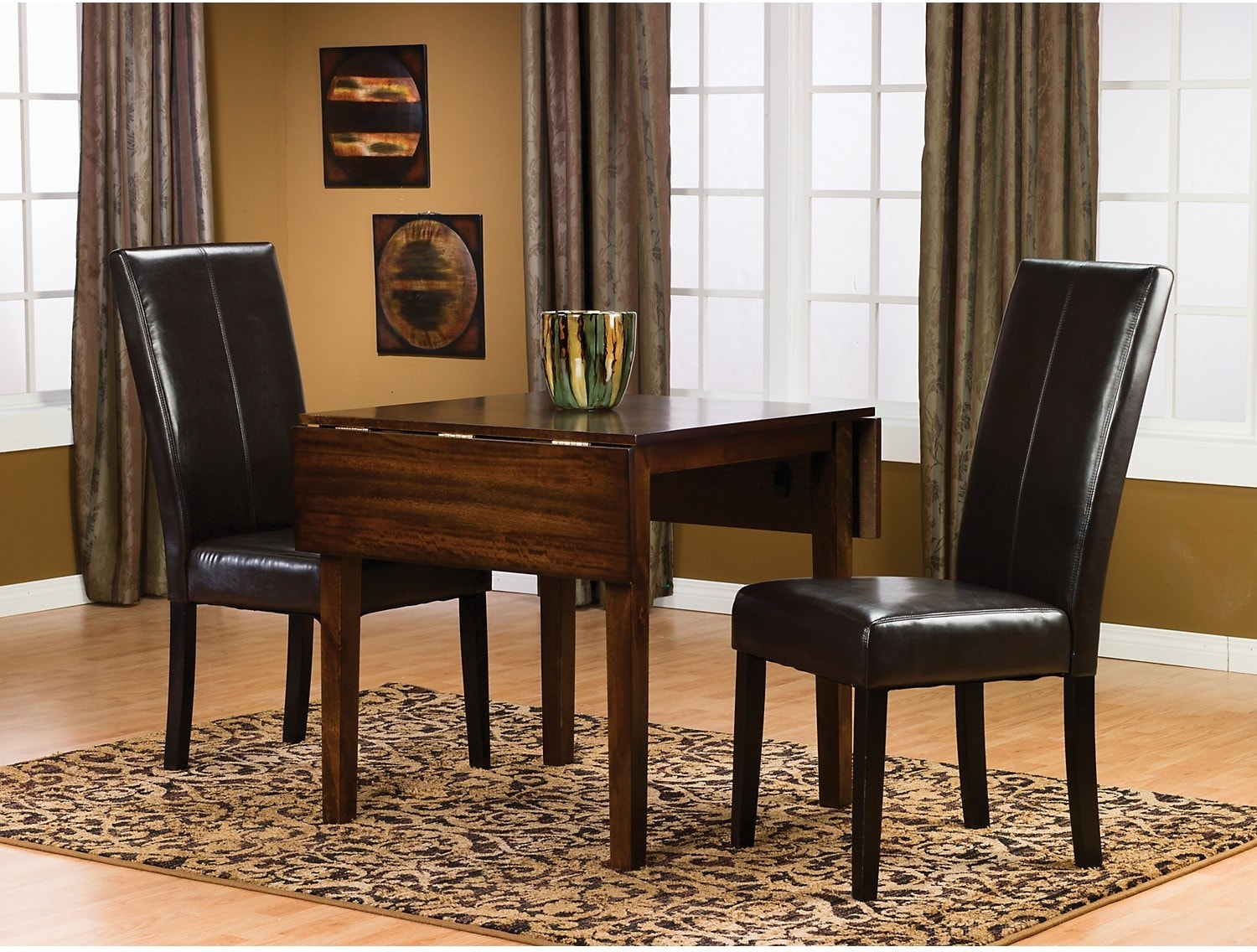 Adara 3-Piece Square Table Dining Package w/ Brown Chairs