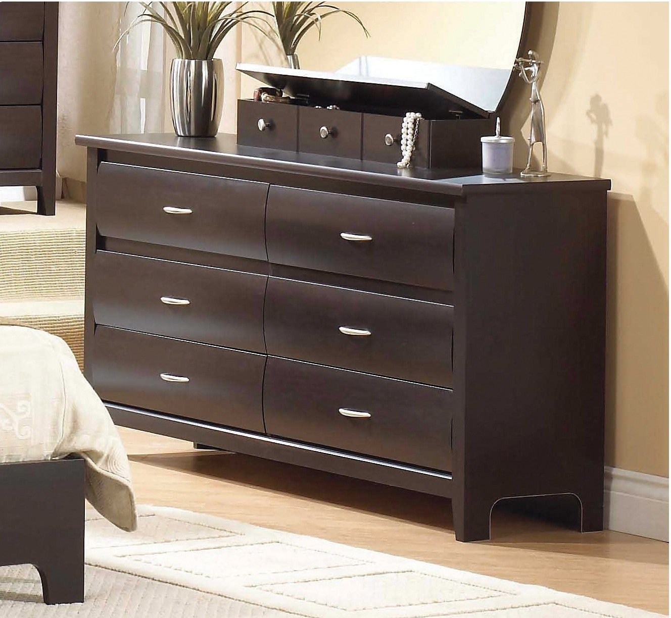 Bedroom Furniture - Mocha 6-Drawer Dresser