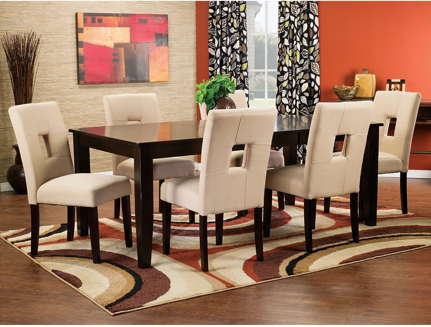 Dining Room Furniture - Dakota 8-Piece Dining Package with Beige Chairs