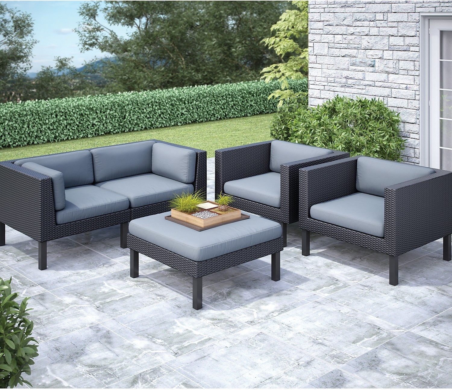 Oakland 5 piece patio conversation set black the brick for Modern garden furniture