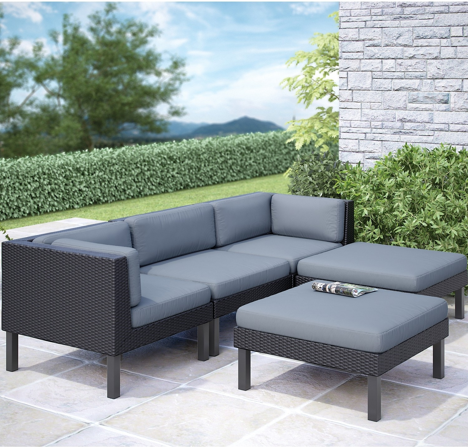 Oakland 5-Piece Patio Sectional – Black