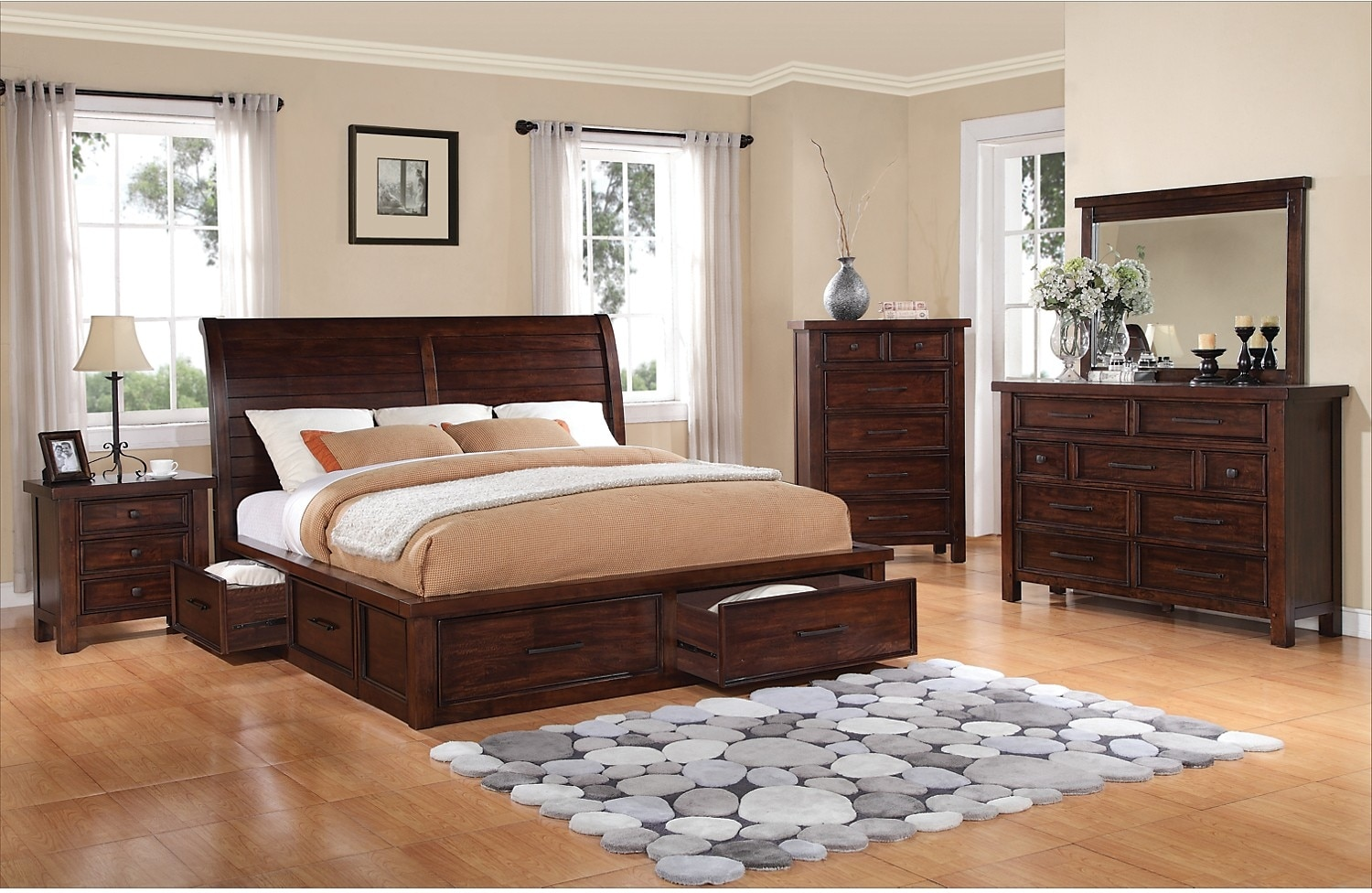 Sonoma 8 piece king storage bedroom set dark brown the for Bedding room furniture