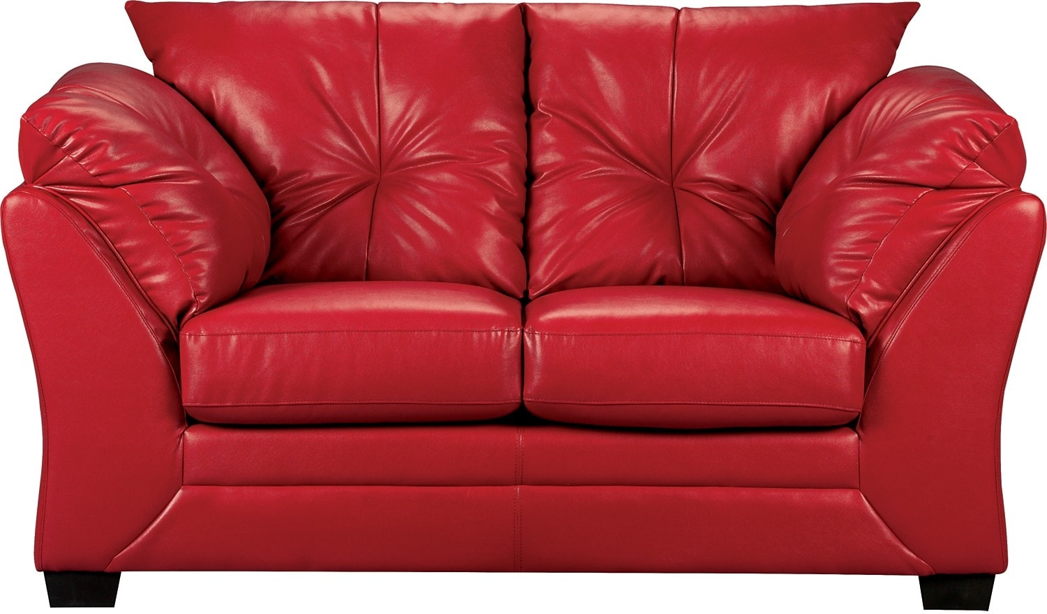 Living Room Furniture - Max Faux Leather Loveseat - Red