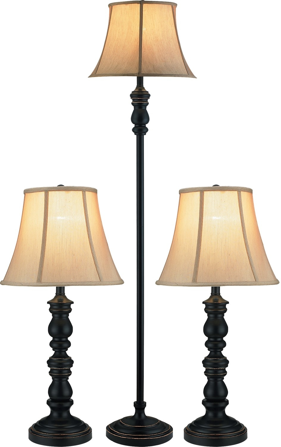 Black With Gold Accents 3 Piece Floor And Two Table Lamps