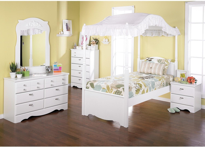 Kids Furniture - Diamond Dreams 7-Piece Twin Canopy Bedroom Package