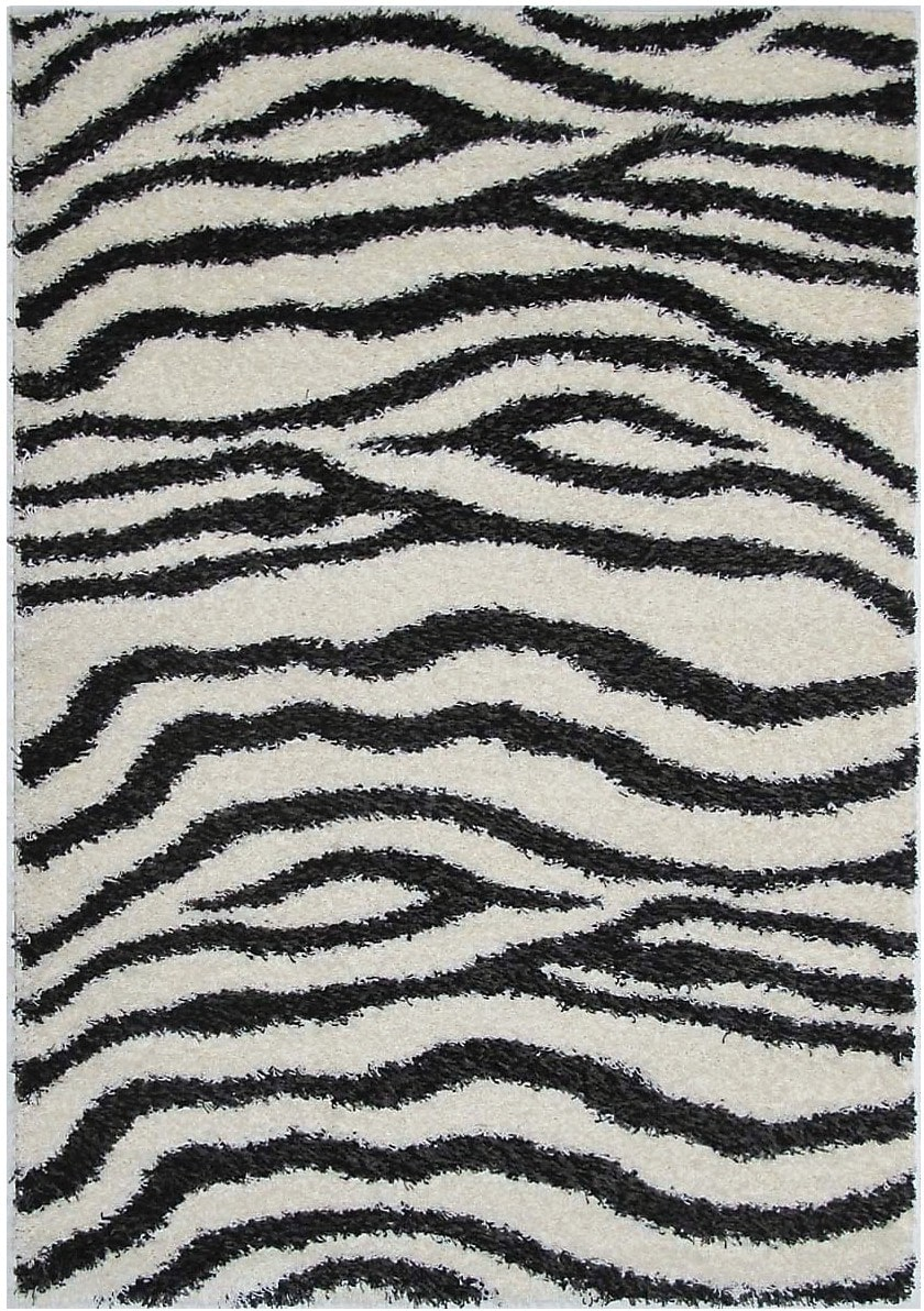 Rugs - Shaggy Black and Cream Area Rug – 5' x 8'