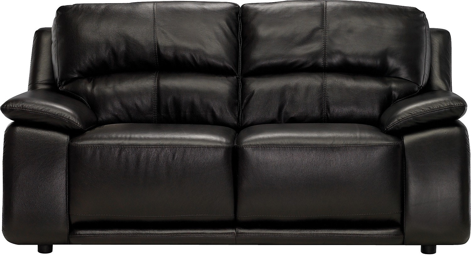 Living Room Furniture - Chateau d'Ax 100% Genuine Leather Loveseat - Dark Chocolate