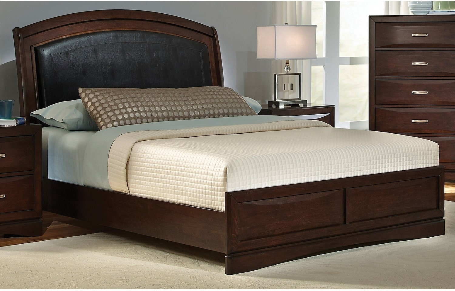 Beverly queen bed the brick for Bedroom set and mattress