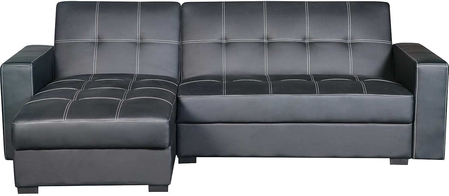 Living Room Furniture - Belize 2-Piece Storage Futon with Chaise - Black