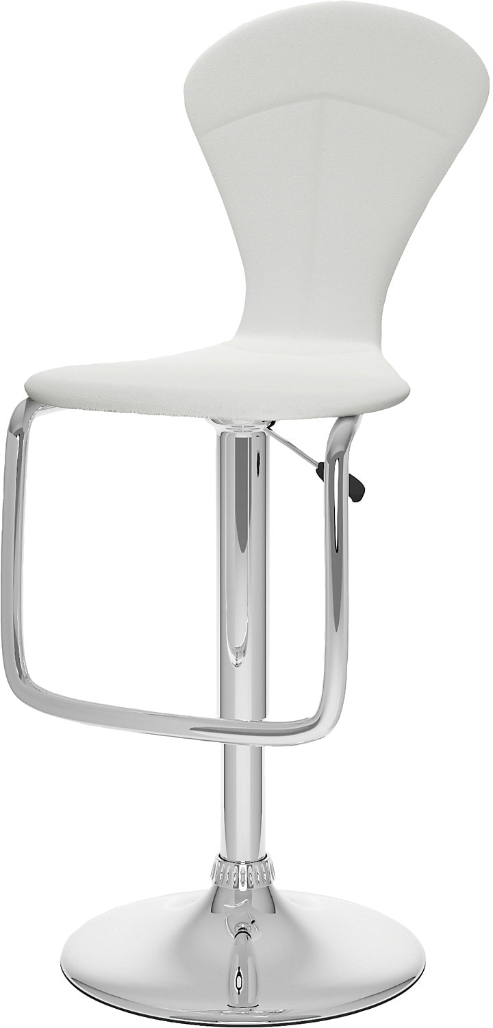 Dining Room Furniture - CorLiving Tapered Full-Back Adjustable Bar Stool - White