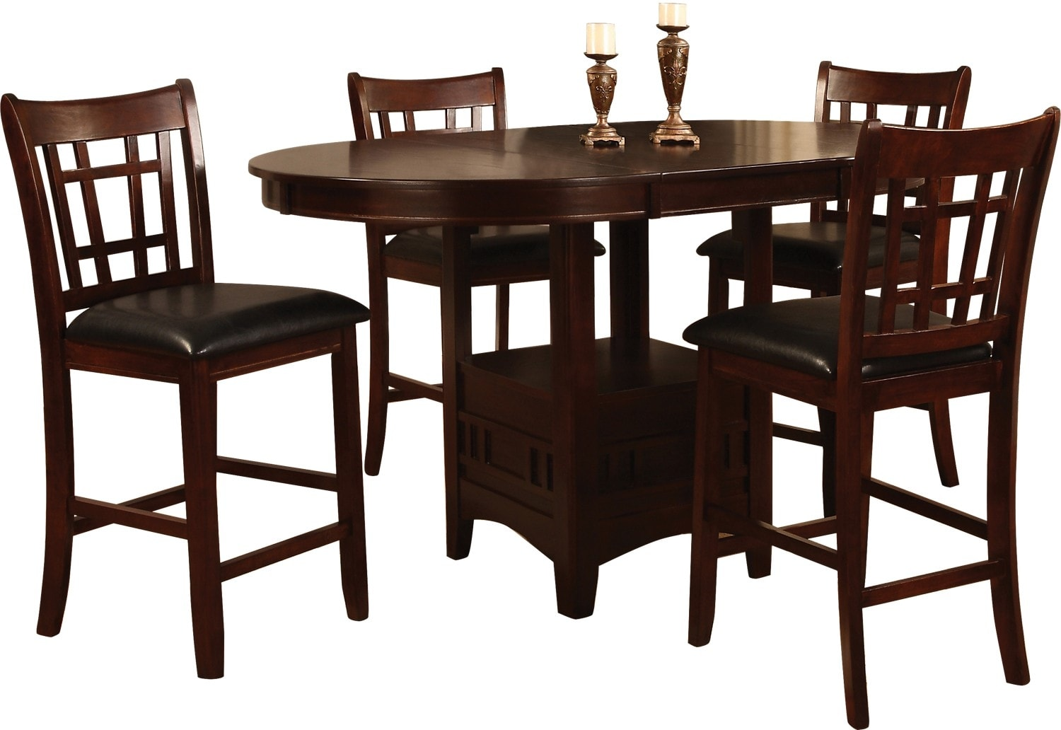 Dining Room Furniture - Dalton 5 Piece Chocolate Counter-Height  Dining Package