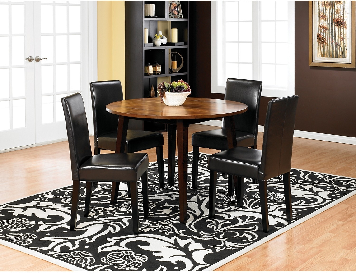 Dining Room Furniture - Zara 5-Piece Dining Package with Brown Chairs