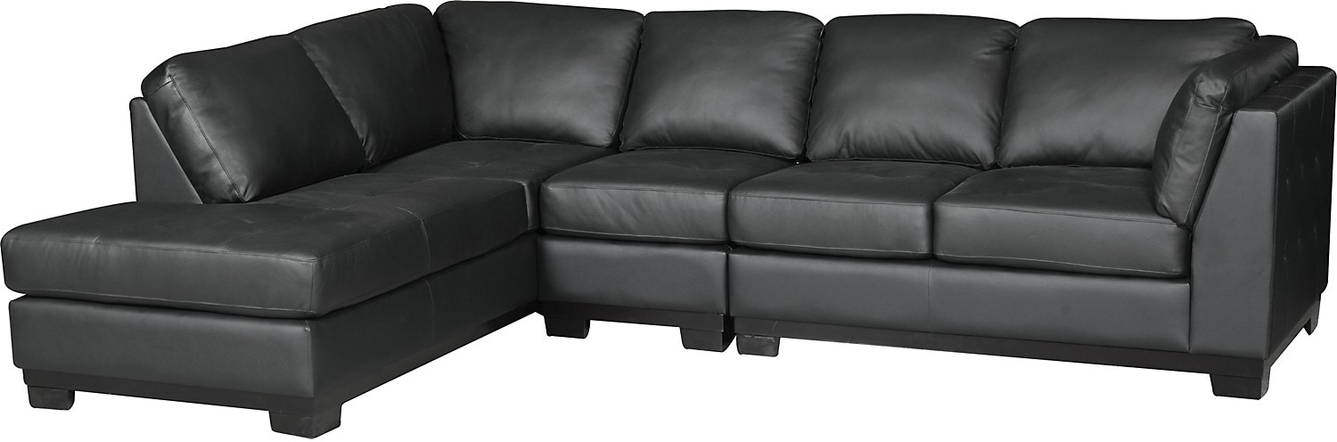 Living Room Furniture - Oakdale 3-Piece Leather Right-Facing Sectional - Black