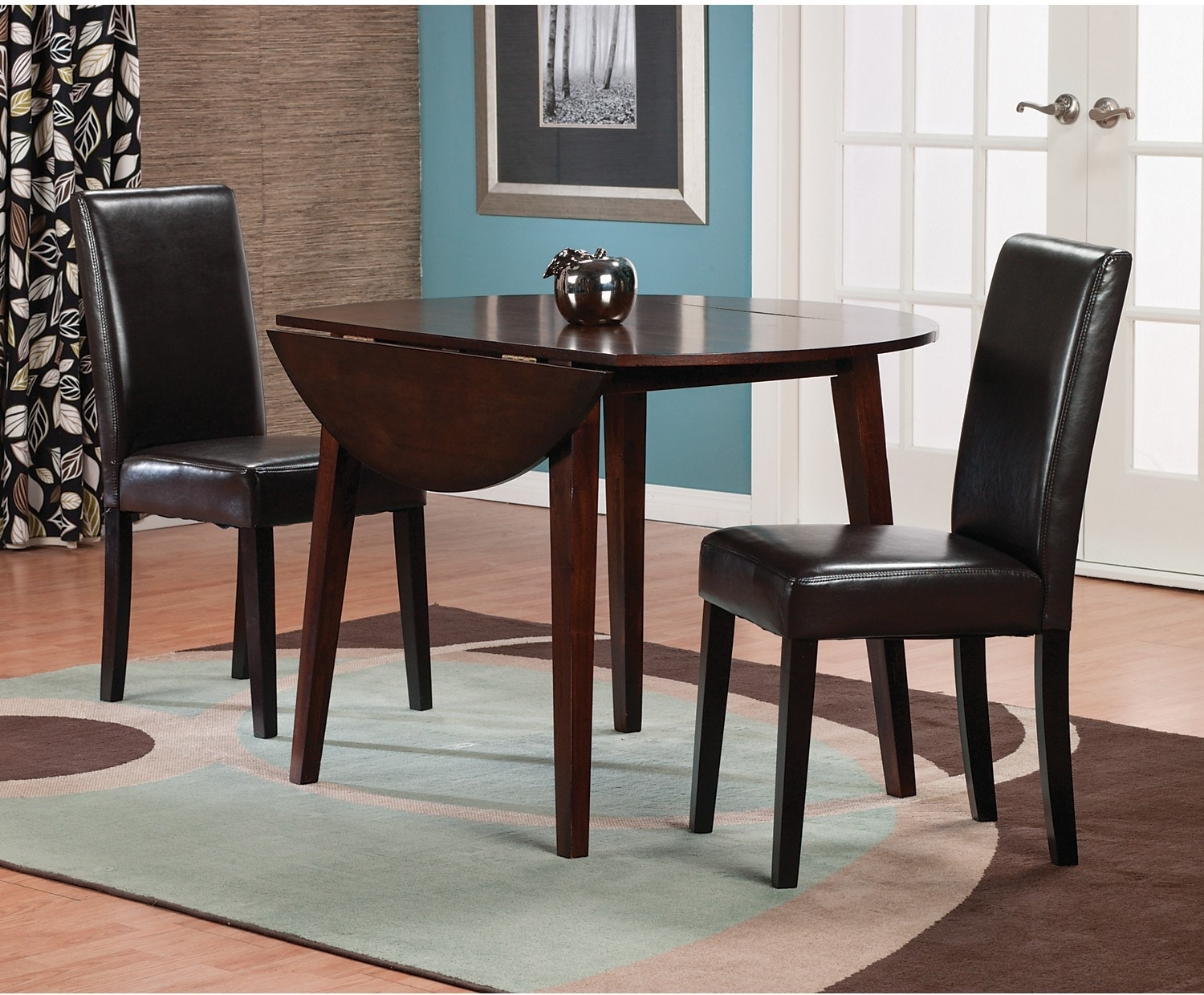 Dining Room Furniture - Adara 3 Piece Dining Package w/ Brown PU Chairs