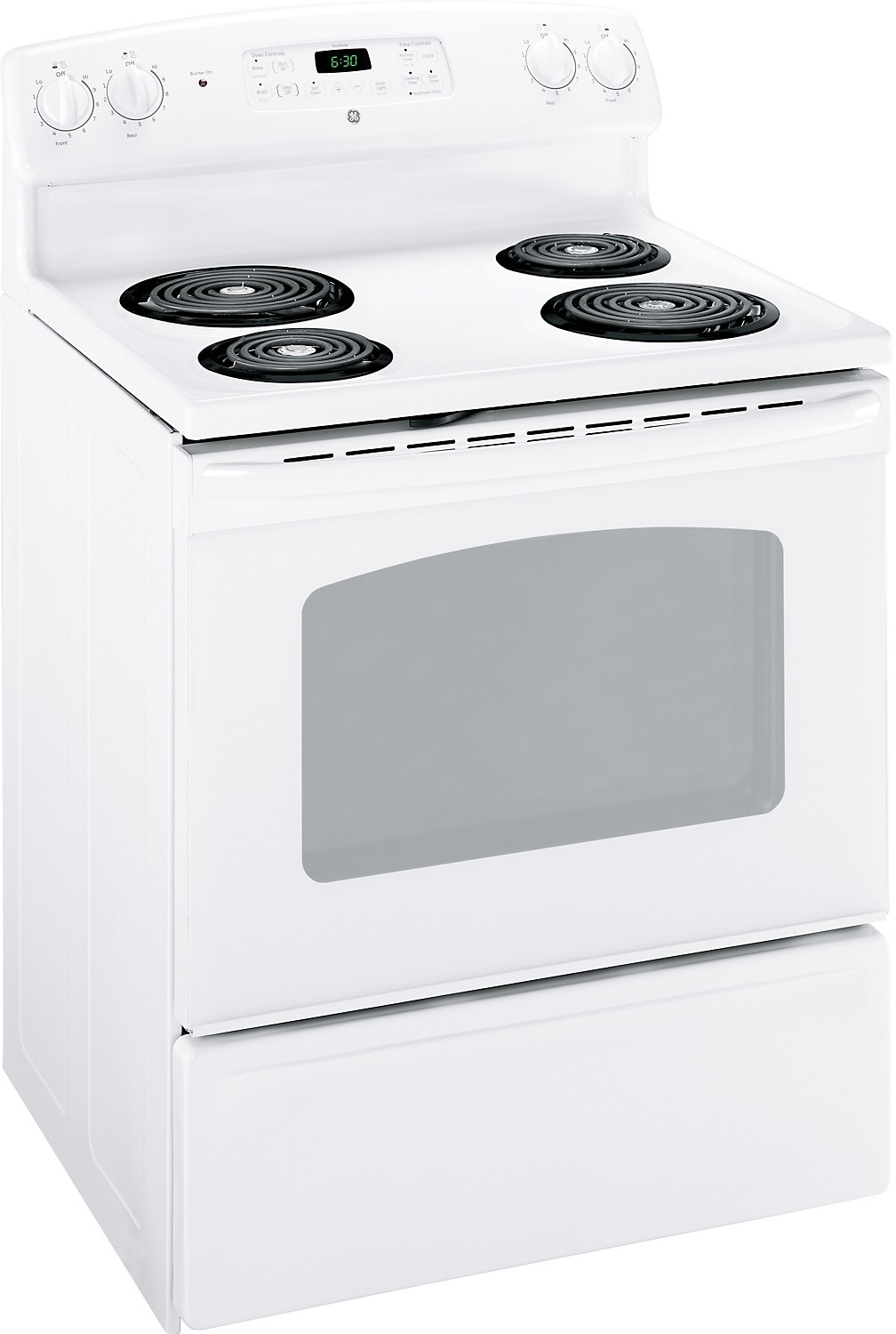 "Cooking Products - GE 30"" Freestanding Electric Standard-Clean Range – White"