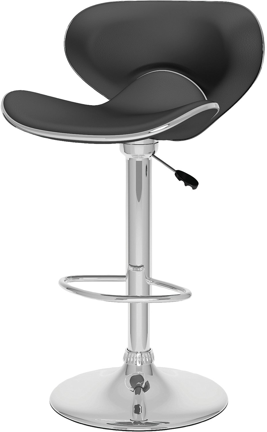CorLiving Curved Form-Fitting Adjustable Bar Stool - Black