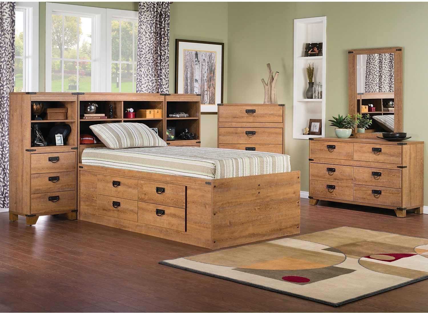 Kids Furniture - Driftwood 7-Piece Captains Pier Bedroom Package