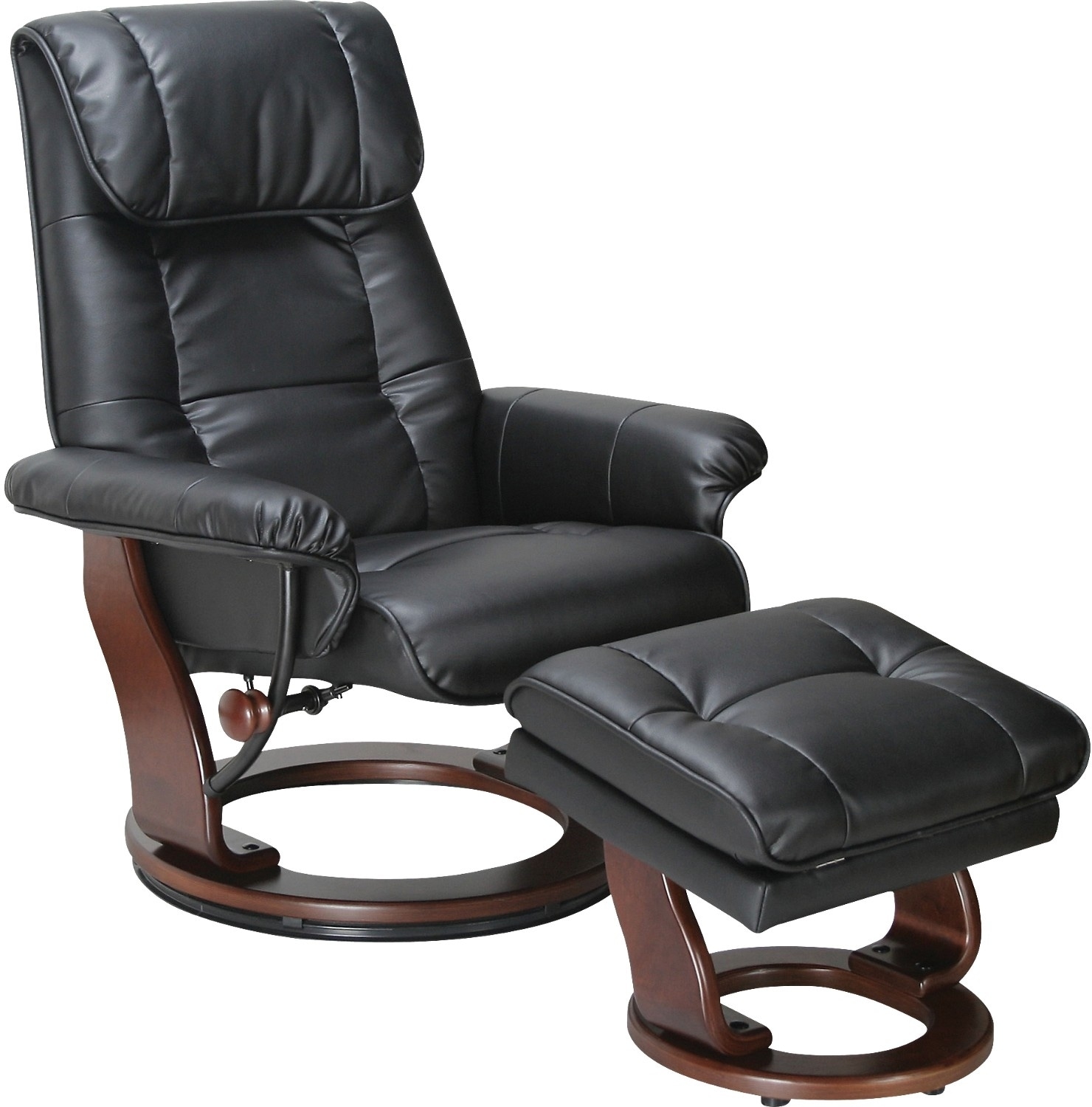 Living Room Furniture - Dixon Black Reclining Chair & Ottoman