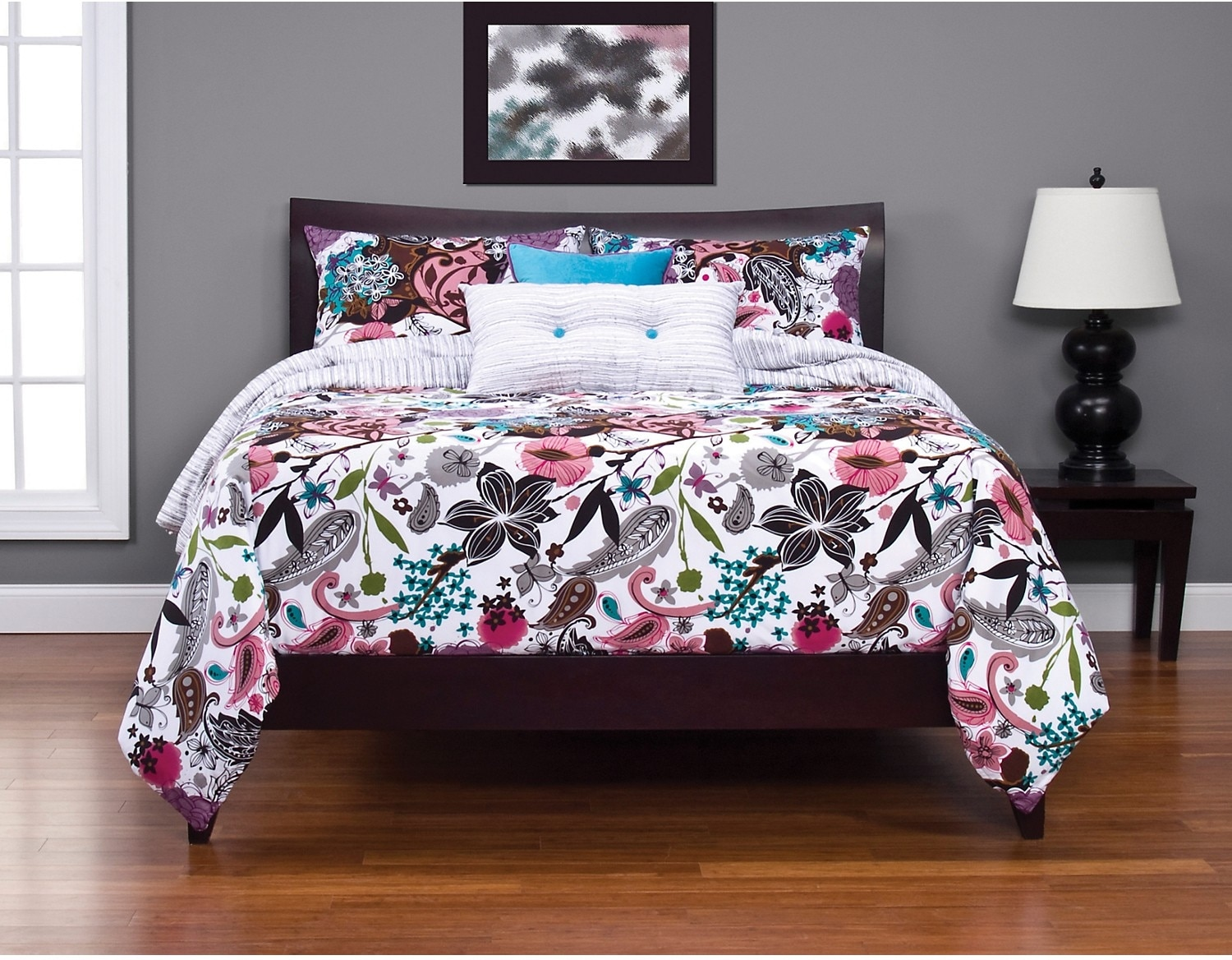Accent and Occasional Furniture - Garden Fantasy White Reversible 4 Piece King Duvet Cover Set