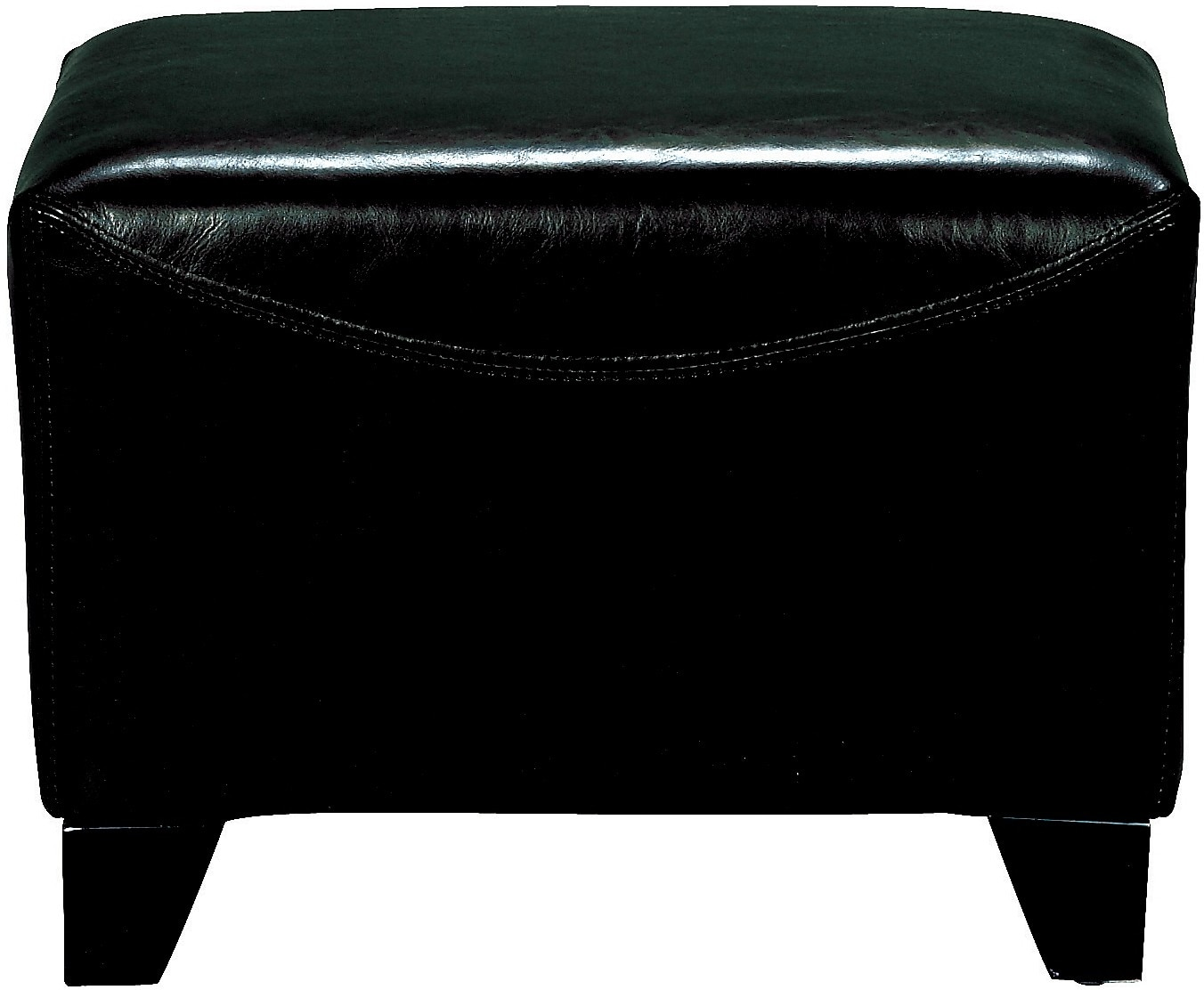 Bonded Leather Ottoman - Black
