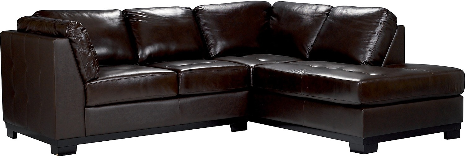 oakdale 2 piece brown leather right sectional the brick