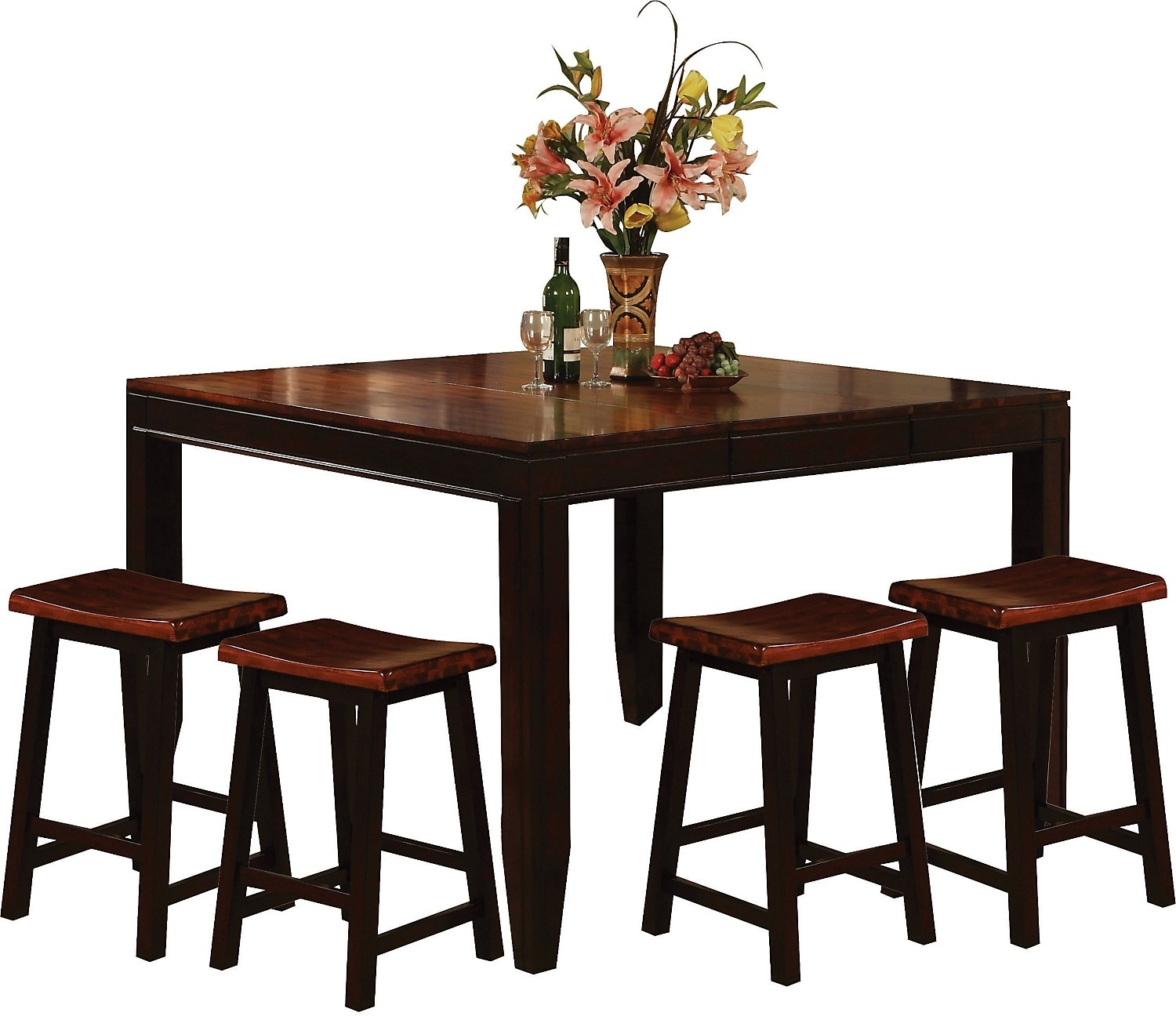 Dining Room Furniture - Zara 5-Piece Counter-Height Dining Package with Barstools