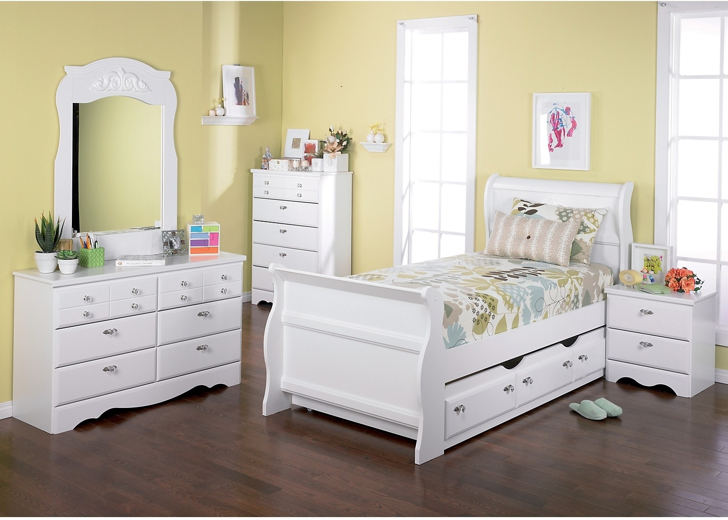 Kids Furniture - Diamond Dreams 7-Piece Twin Trundle Sleigh Bed Package