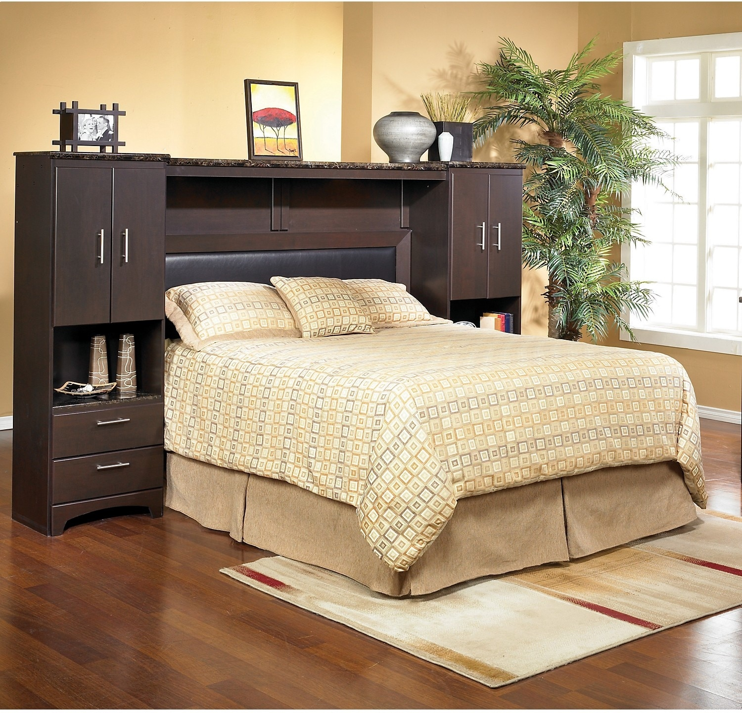 Oxford queen wall bed with piers the brick for Bedroom furniture beds