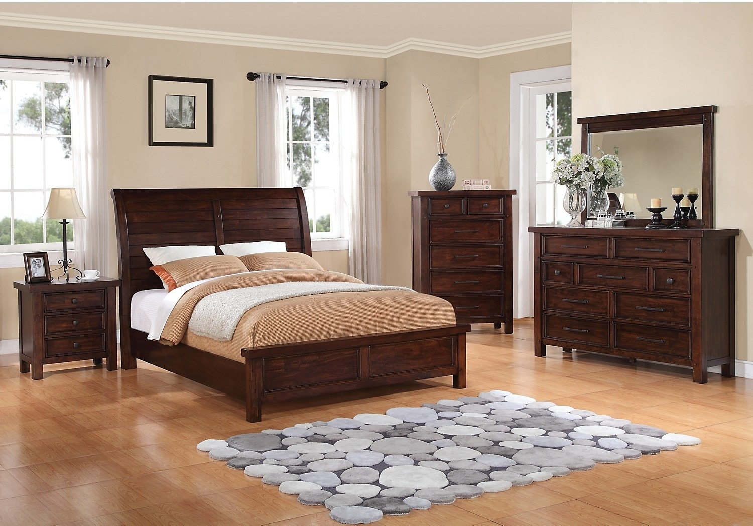 Bedroom Furniture - Sonoma 6-Piece Queen Bedroom Package - Dark Brown