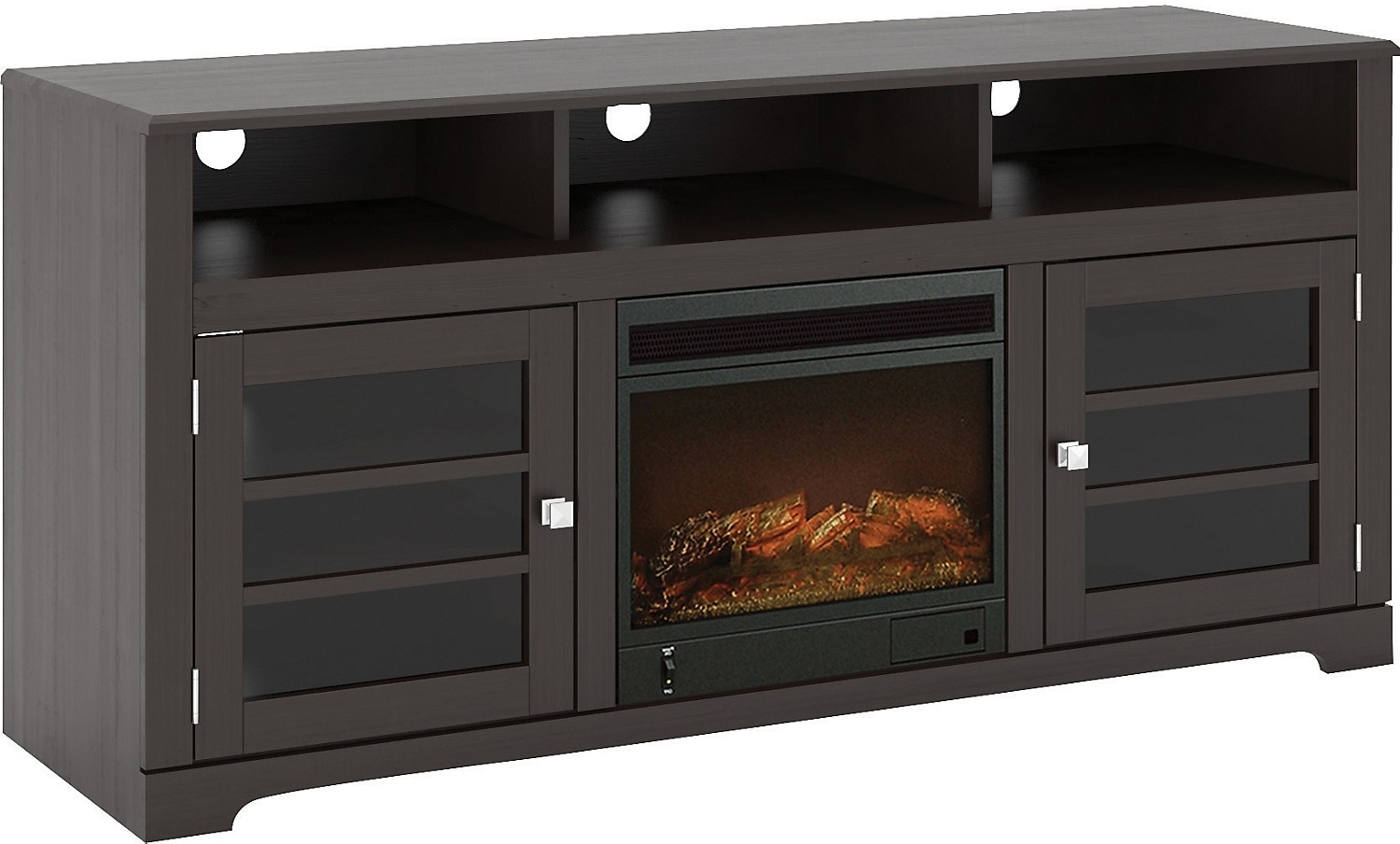 "Entertainment Furniture - West Lake 60"" TV Stand with Log Firebox – Mocha Black"