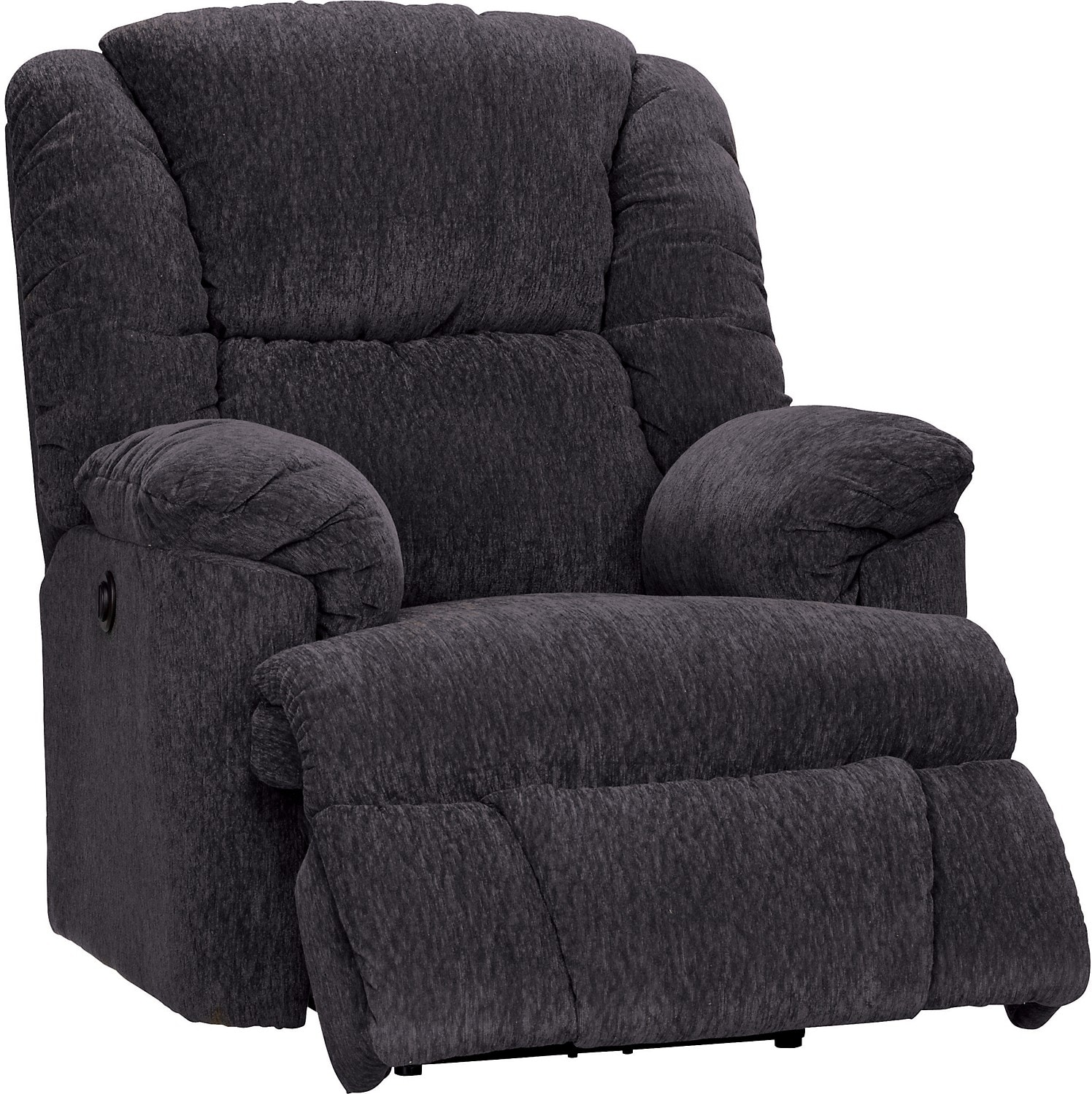 Bmaxx grey chenille power recliner the brick for Chair chair chair