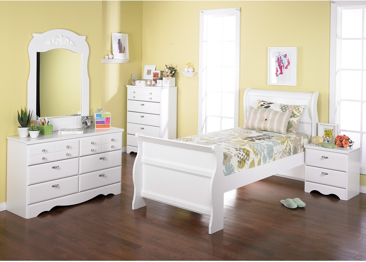 Kids Furniture - Diamond Dreams Twin Sleigh 7-Piece Bedroom Package