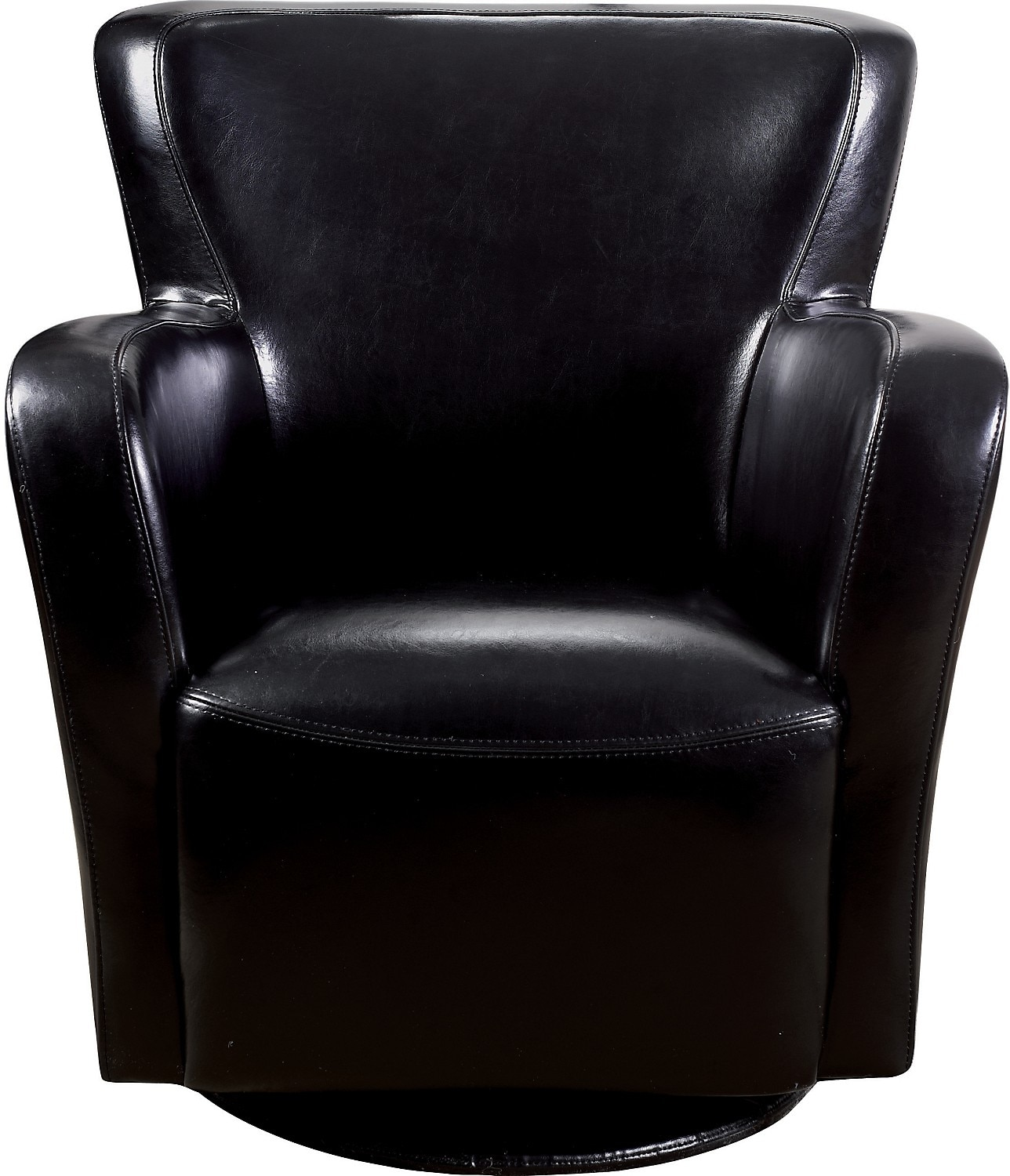 Living Room Furniture - Bonded Leather Swivel Chair - Black