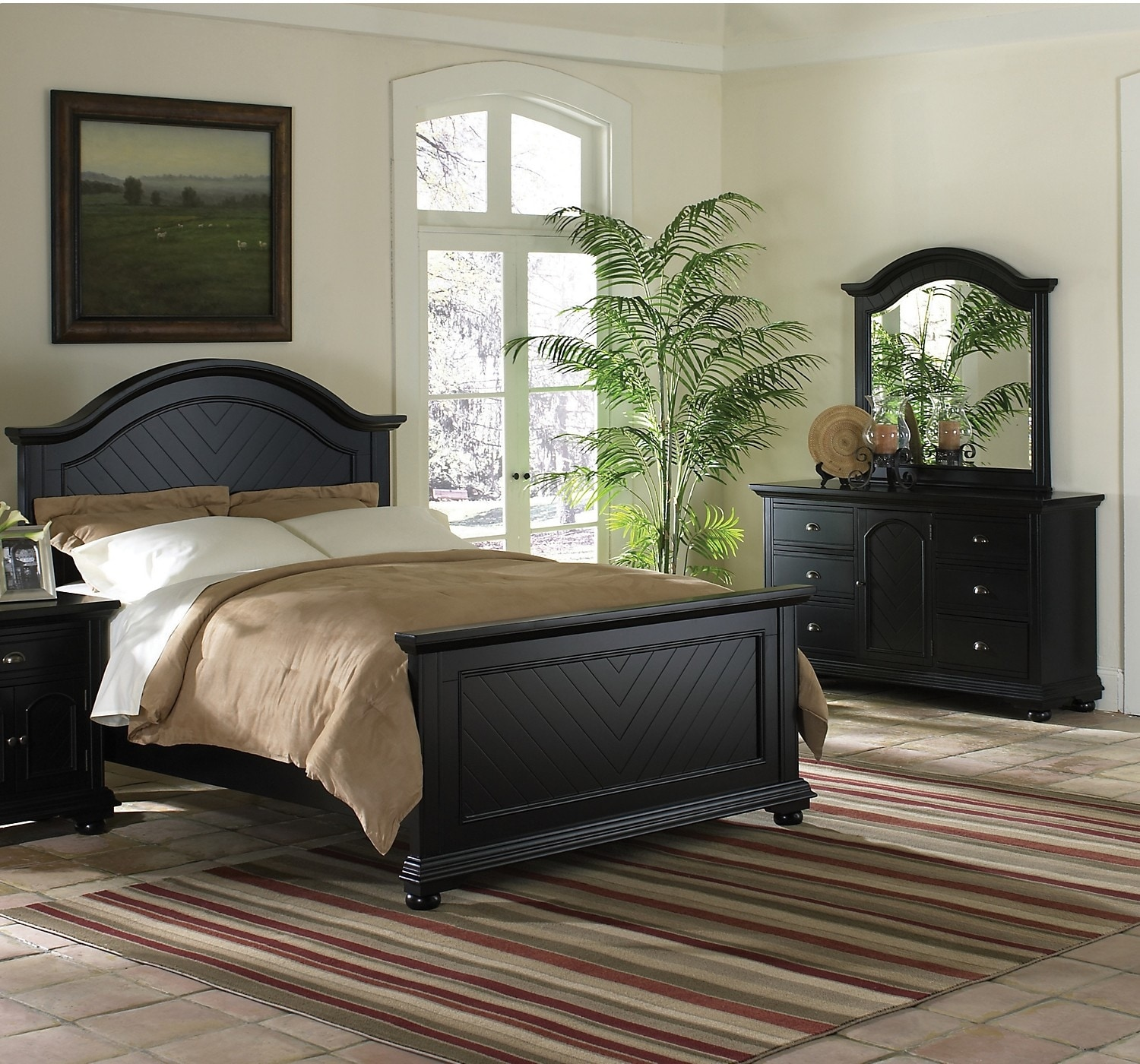 Bedroom Furniture - Brook Black 5-Piece King Bedroom Set