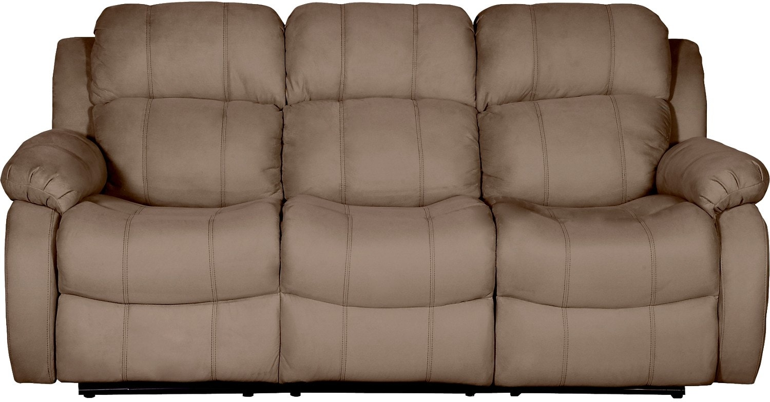 Omega 2 Microsuede Reclining Sofa Mocha The Brick