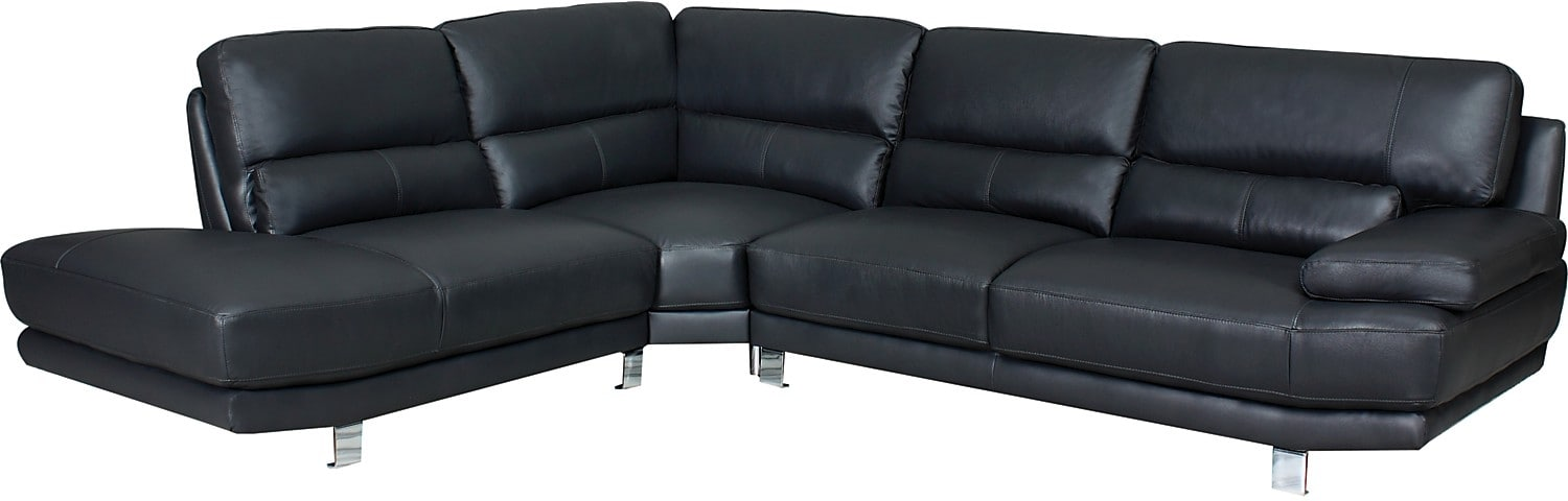 Living Room Furniture - Nico 3-Piece Genuine Leather Left-Facing Sectional - Grey