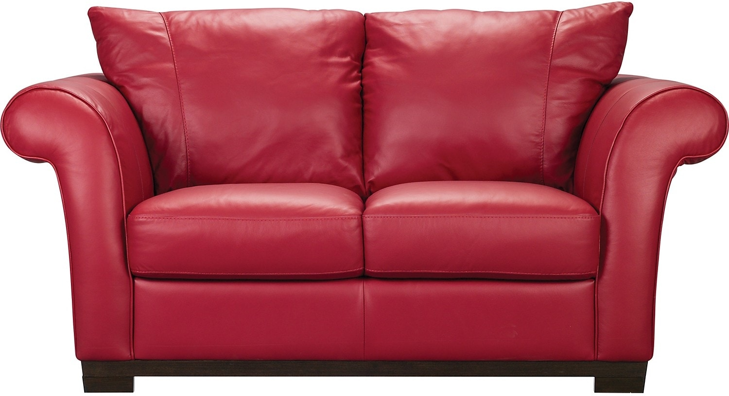 Living Room Furniture - Layla Genuine Leather Loveseat – Red