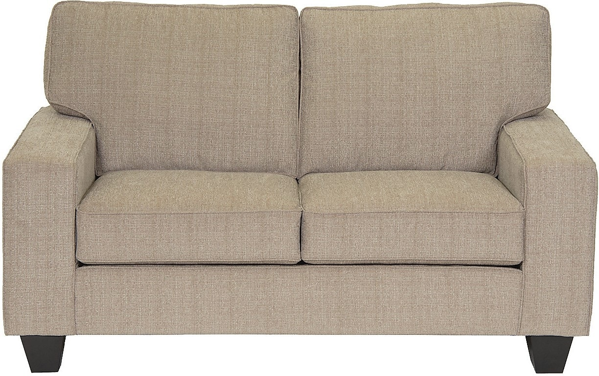 Living Room Furniture - Designed2B Dax Linen-Look Fabric Loveseat – Mist