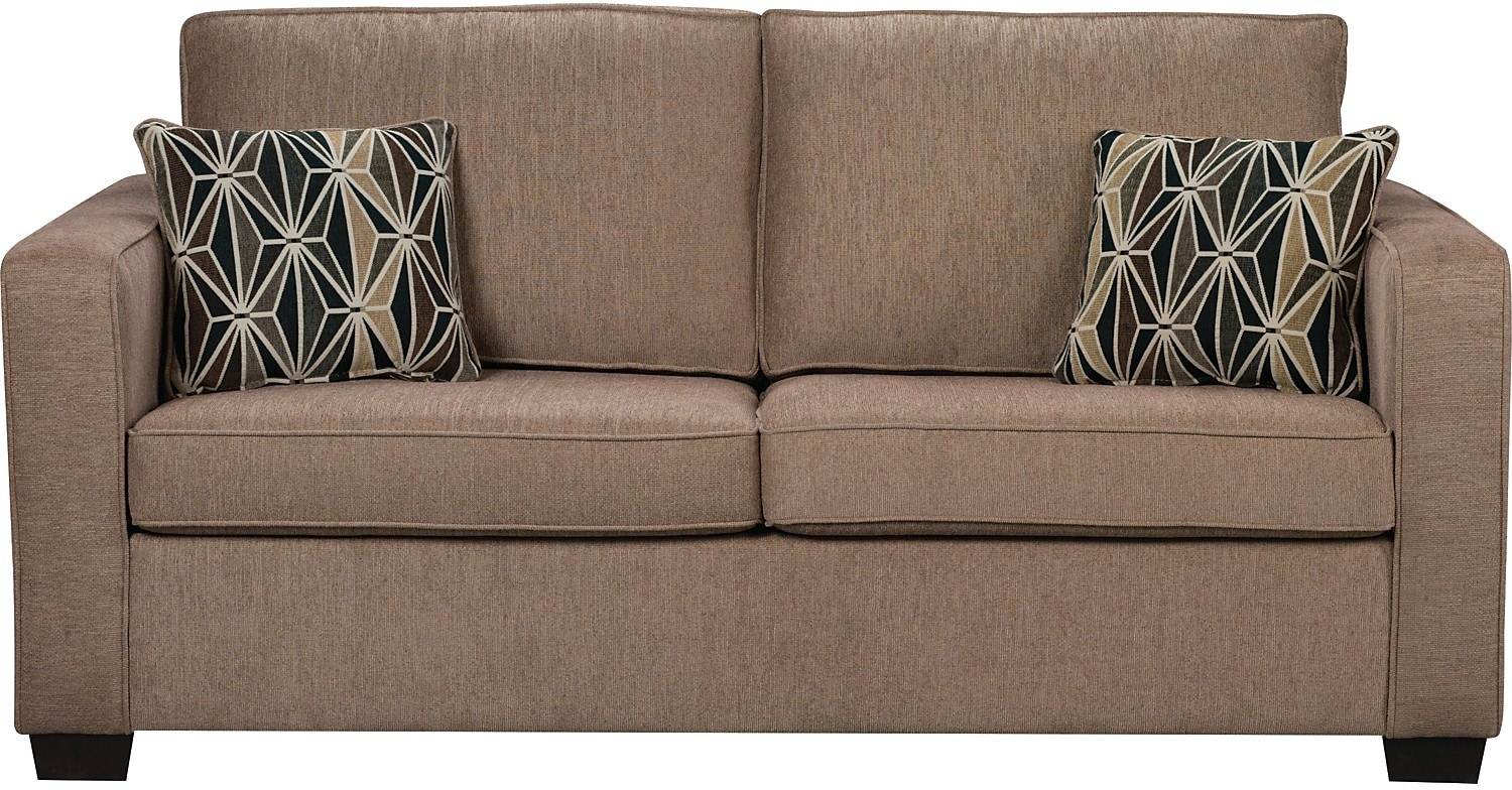 Living Room Furniture - Freya Chenille Full-Size Sofa Bed - Oak