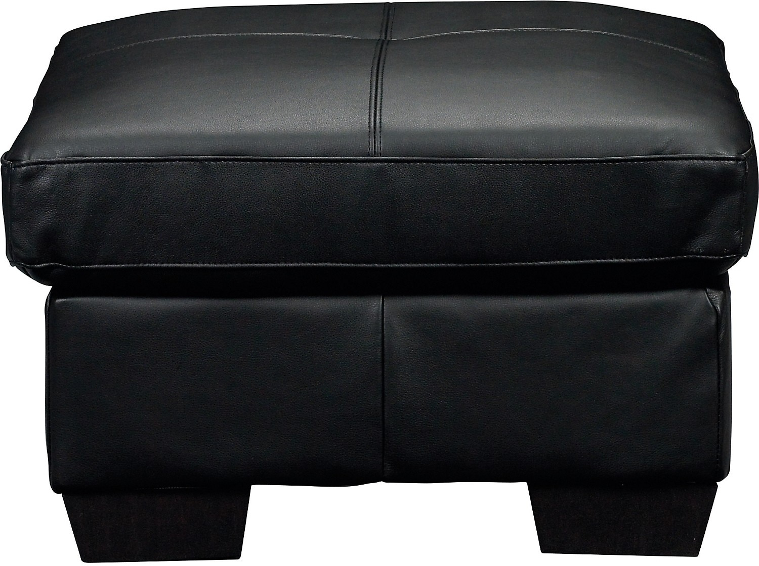 Costa Black Bonded Leather Ottoman
