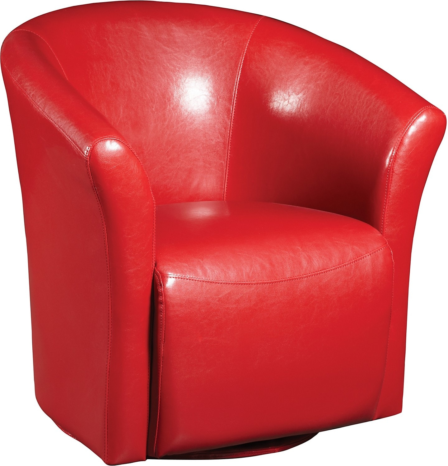 Ethan red faux leather swivel accent chair the brick for Red swivel chairs for living room