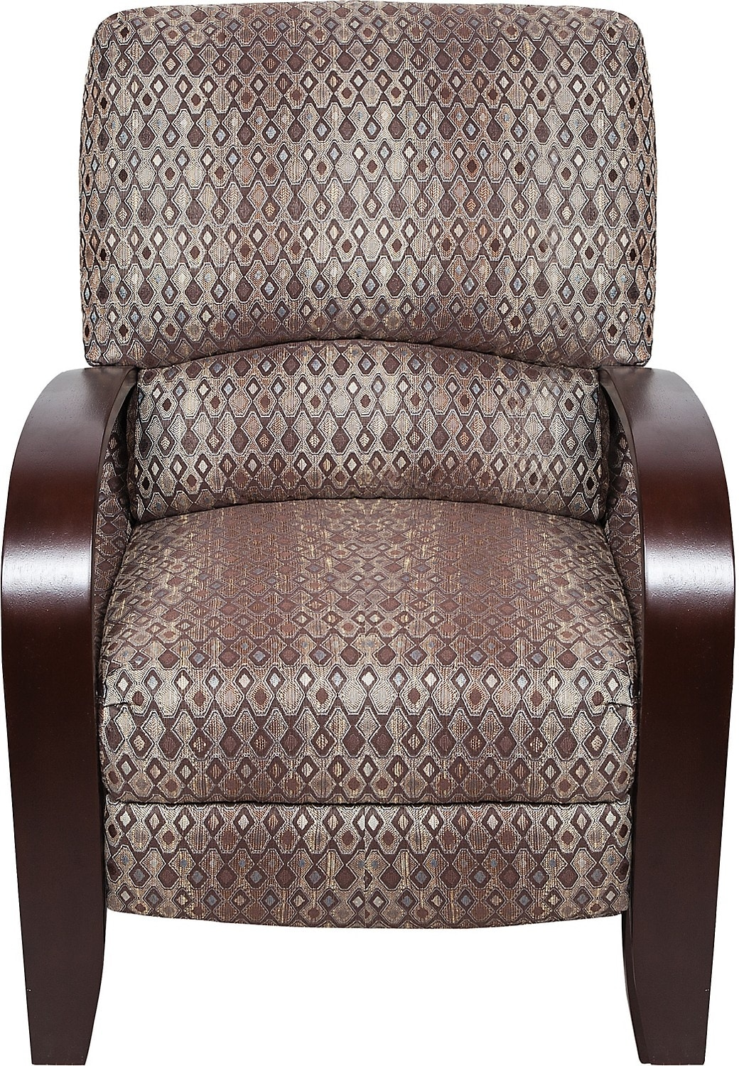 Aaron fabric accent reclining chair the brick for Fabric reclining living room sets