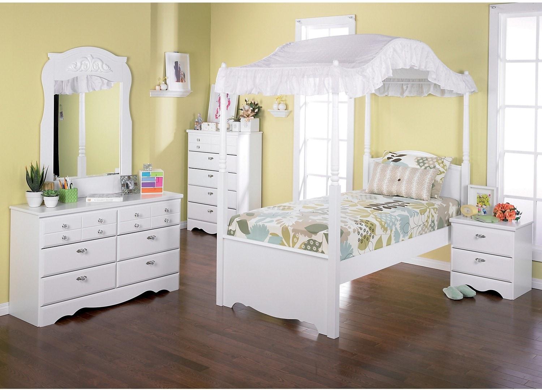 Kids Furniture - Diamond Dreams 6-Piece Twin Canopy Bedroom Package