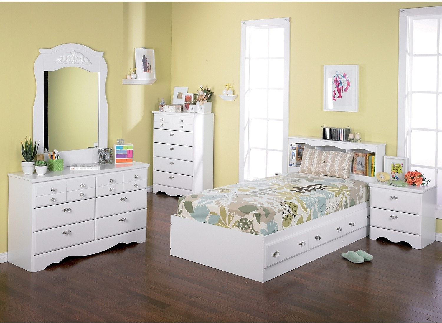 Kids Furniture - Diamond Dreams 5-Piece Twin Matesbed Package