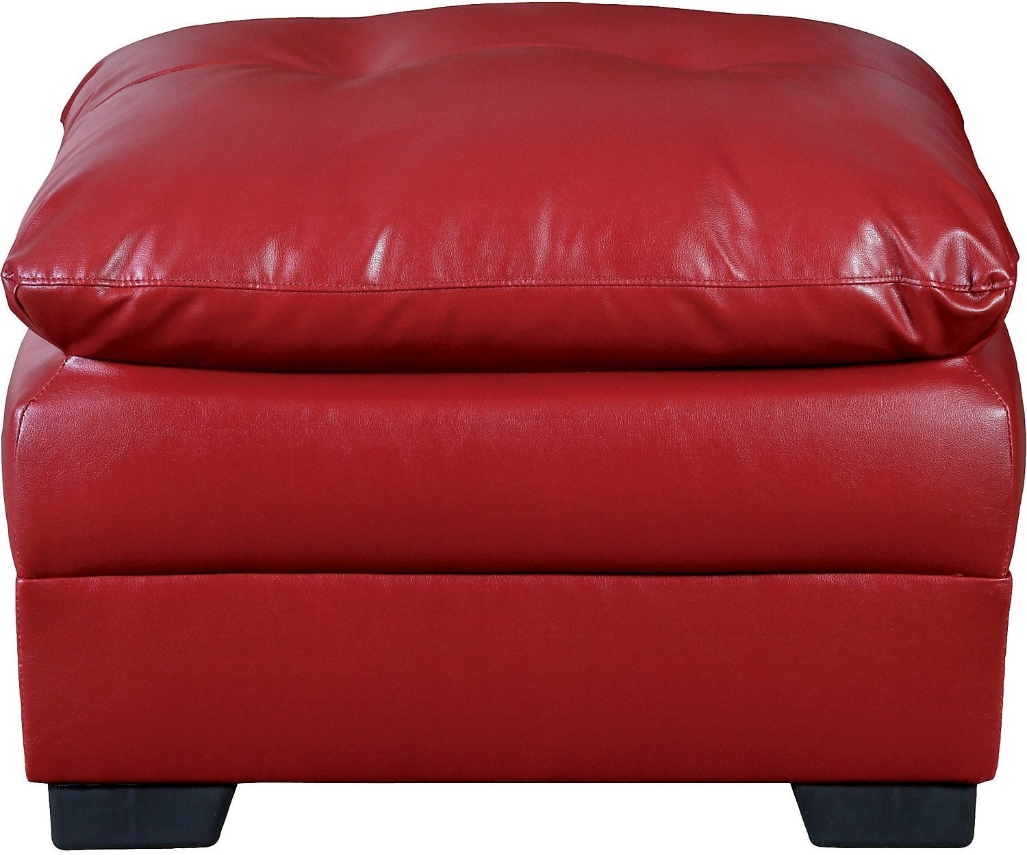 Living Room Furniture - E6 Red Bonded Leather Ottoman