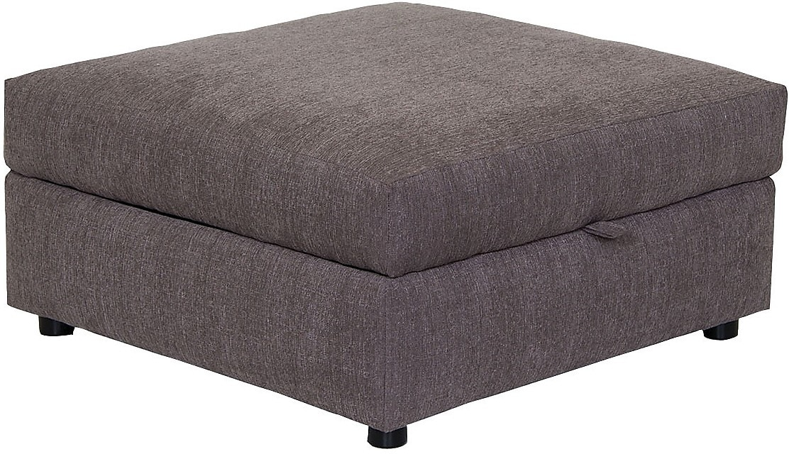 Living Room Furniture - Designed2B Fabric Square Storage Ottoman - Grey