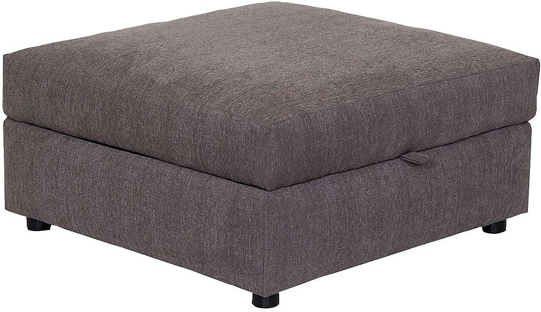 Living Room Furniture - Designed2B Fabric Square Storage Ottoman - Grey