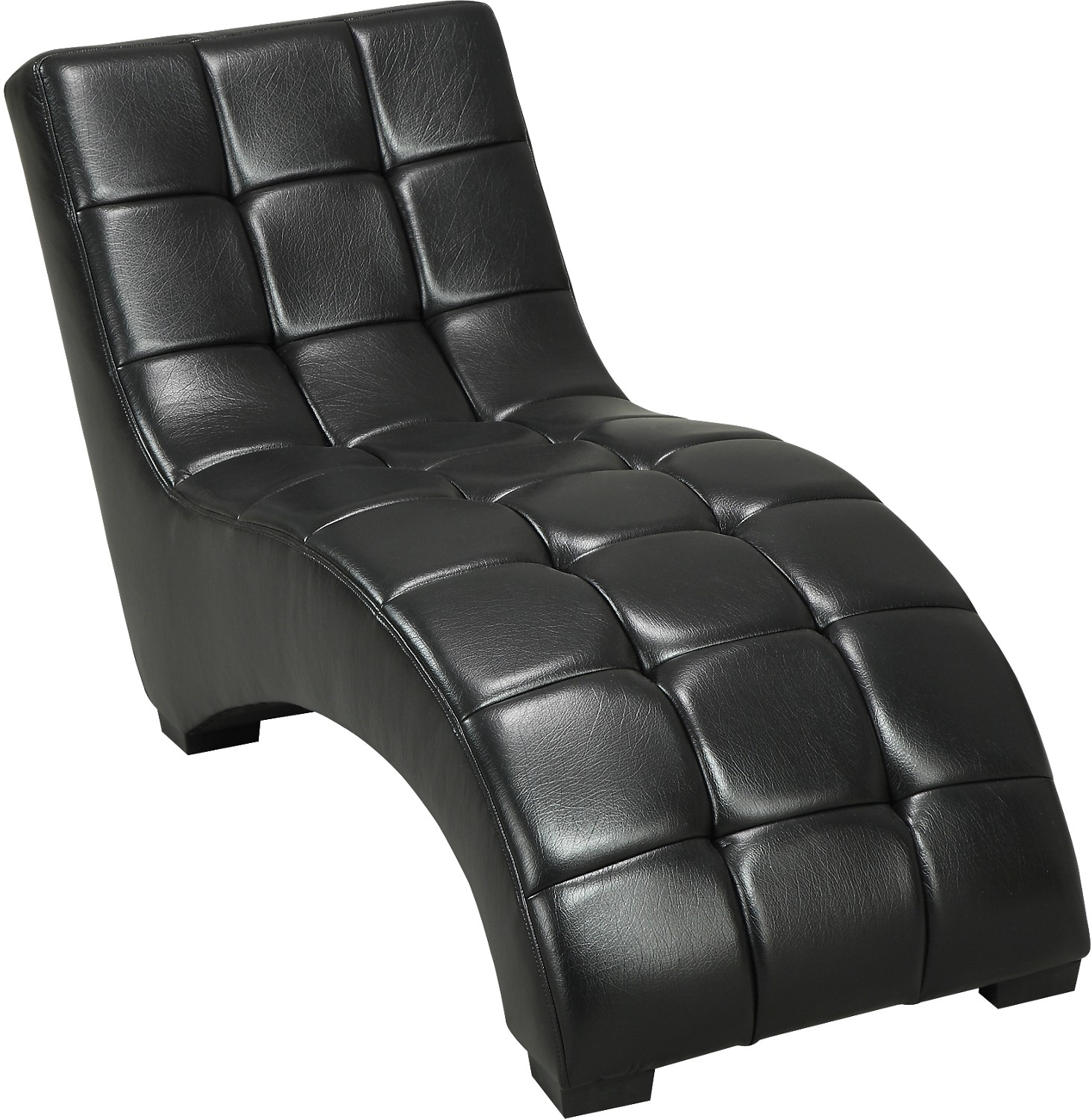 Living Room Furniture - Icon Curved Black Chaise