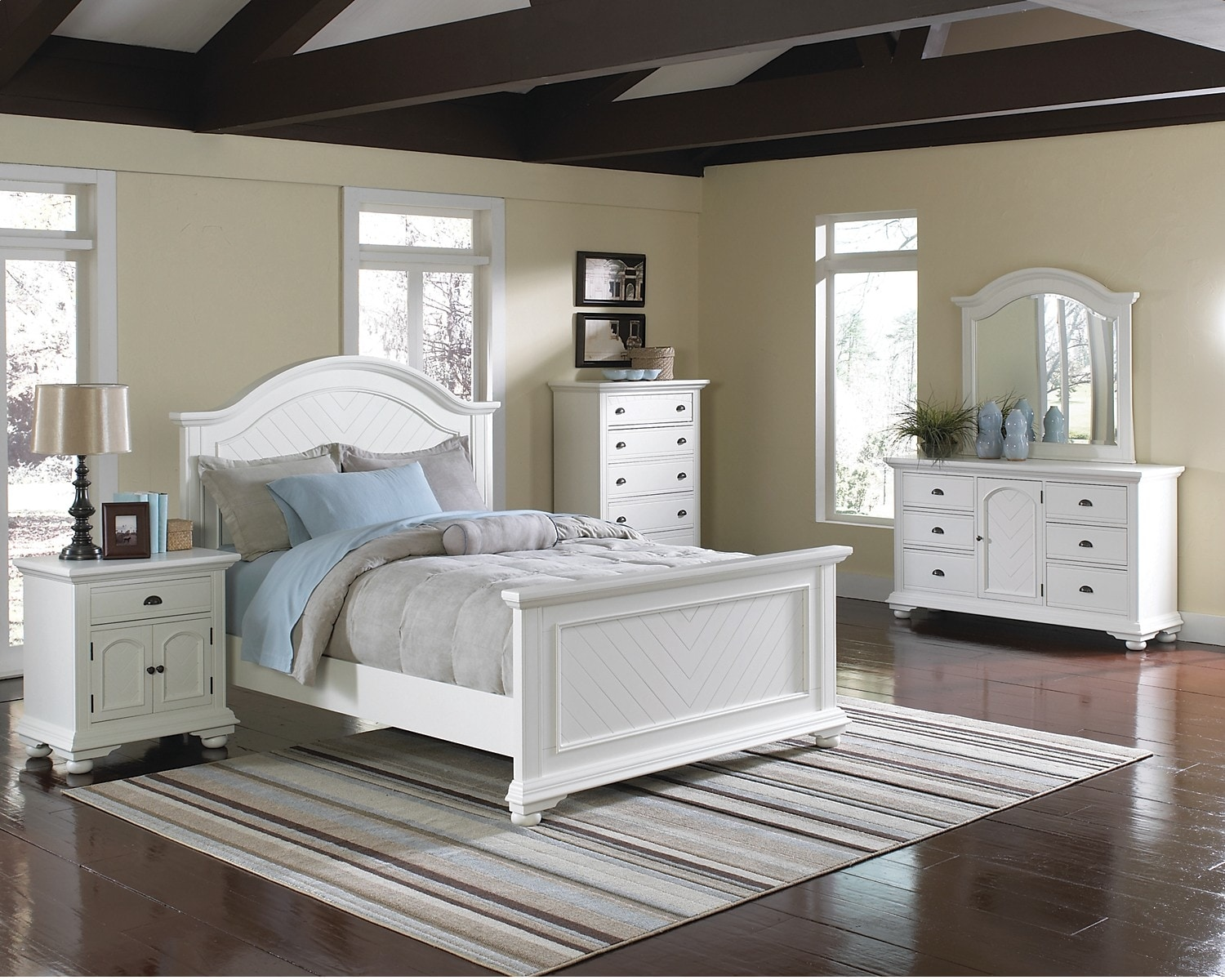 Bedroom Furniture - Brook Off-White 7-Piece King Bedroom Set