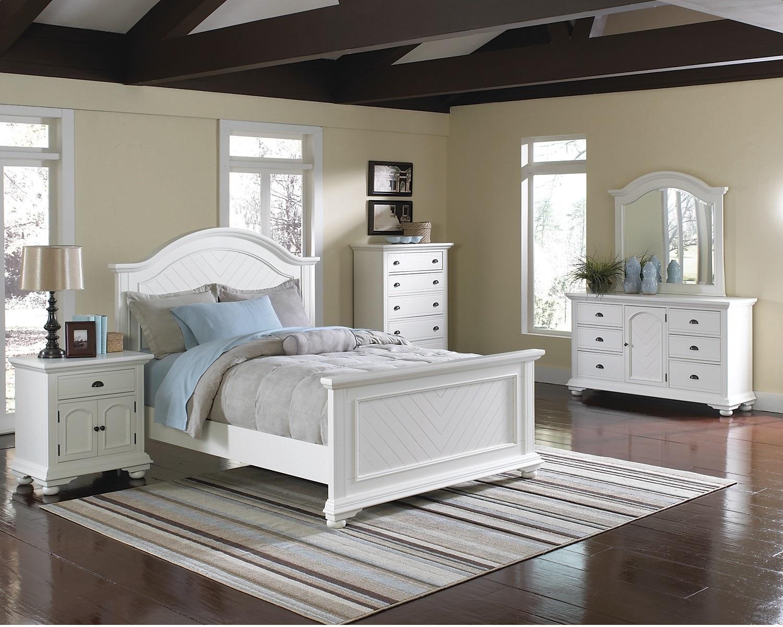 Bedroom Furniture - Brook Off-White 7-Piece Full Bedroom Set